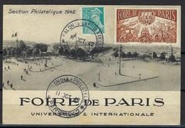 France, Carte Maximum, Thématique Foire De Paris, 1942 - Cartes-Maximum