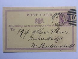 GB Victoria 1871 Postcard Bradford Duplex To Milnesbridge - Charles Hastings & Co. - 1840-1901 (Victoria)