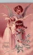 CPA - FANTAISIE - Illustration NOËL - Scène Jeunes FILLES Habillées En ANGE - Noël