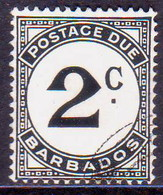 BARBADOS 1953 SG #D5a 2c Postage Due Used Chalk-surfaced Paper Wmk Mult.Script CA - Barbades (...-1966)
