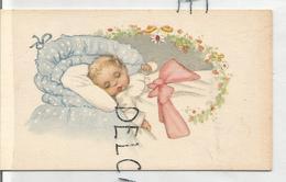 Mignonnette. Bébé Dans Son Lit, Nœud Rose Et Fleurs. - Geboorte