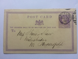 GB Victoria 1872 Postcard Leicester To Milnsbridge - Atkins Brothers - 1840-1901 (Viktoria)