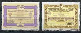 RC 12728 POLYNÉSIE N° 1044 / 1045 ACTIONS AU PORTEUR TAHITI NEUF ** - Polynésie Française
