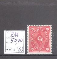 Allemagne Reich : N° 211 (*) Neuf Sans Gomme Cote Yvert & Tellier 2006: 50,00 €. - Allemagne