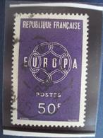 """1950-59  Timbre Oblitéré N° 1219    """" EUROPA VIOLET 50 F     """"     1.10 - France"""