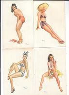 11126 - Lot De 4 Cartes De PIN UP, Illustrées Par André BERMOND - Pin-Ups