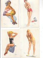 11127- Lot De 4 Cartes De PIN UP, Illustrées Par André BERMOND - Pin-Ups