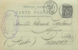 30 NIMES  Représentant De Commerce Paul DAGUES  1887 Entier Postal   2scans - Nîmes
