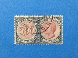 REGNO MARCA DA BOLLO USATA IN COPPIA 5 LIRE ATTI AMMINISTRATIVI ITALY REVENUE - 1900-44 Vittorio Emanuele III