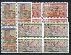 RC 12741 POLYNÉSIE N° 1107 / 1109 SÉRIE LE MARCHÉ DE PAPEETE BLOCS DE 4 NEUF ** - Neufs