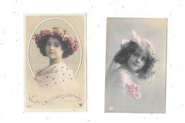 11131 - Lot De 2 CPA Portraits Petites Filles, - Portraits