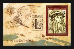 NEW ! Leonardo Da Vinci 500th Anniversary Art Painter Selfportrait Invention Aircraft Map Churches Uruguay MNH S/s - Famous People