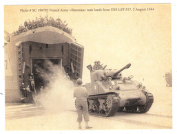 """French Army """" Sherman"""" Tank Lands From USS LST -517 , 2 August 1944 - Militaria  - Format 22x26 - Guerre 1939-45"""