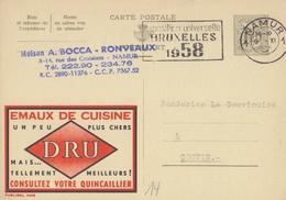PUBLIBEL 1445°: ( DRU ) : KITCHEN,COOK, §@§ Exposition Universelle - BRUXELLES 1958 §@§ - Entiers Postaux