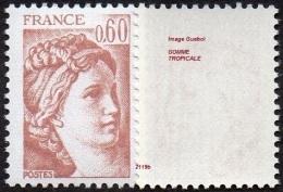 France Sabine De Gandon N° 2119 B ** Le 0fr60 Brun Rose - Gomme Tropicale - 1977-81 Sabine Of Gandon