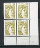 12982 FRANCE  N° 1971 ** 80c. Jaune-olive  Sabine   C.D Du 12.6.80    TB/TTB - Dated Corners
