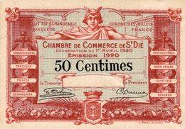 7039-2019    BILLET CHAMBRE DE COMMERCE DE  ST DIE - Chambre De Commerce