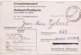 CARTE PRISONNIER DE GUERRE STALAG LAGER FELDPOST 25729 BAB 47  VENCRESSE 17 12 1941 - Militaria