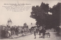 17. LA TREMBLADE. CPA. LES TIRAILLEURS MALGACHES EN 1917. GROUPE DE TIRAILLEURS AU VILLAGE DU PETIT PONT - Guerre 1914-18