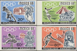 Rwanda 1968 COB 243/6. Non Dentelés. Jeux Olympiques De Mexico. Sports Et Archéologie, Athlétisme - Sommer 1968: Mexico