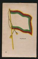 FLAGS OF ALL NATIONS  SOIE SUR PAPIER    8.5 X 5.5 CM    ===   PERSIA - Autres