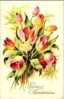 CPA FANTAISIE FLEURS -  TRES JOLI BOUQUET DE TULIPES - HEUREUX ANNIVERSAIRE - - Flowers
