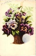 CPA FANTAISIE FLEURS -  UN BOUQUET DE PENSEES DANS UN JOLI  PANIER EN ROTIN AVEC ANSE - Flowers