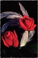 CPA FANTAISIE FLEURS -  SUR FOND NOIR DEUX ROSES ROUGES ECARLATES ET DES PLUMES BLANCHES - Fleurs