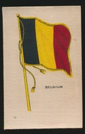 FLAGS OF ALL NATIONS  SOIE SUR PAPIER    8.5 X 5.5 CM    ===  BELGIUM - Cigarette Cards