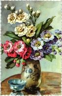 CPA FANTAISIE FLEURS -   BOUQUET D ANEMONES DANS UN VASE POSE SUR UN MEUBLE - Flowers