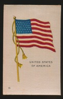 FLAGS OF ALL NATIONS  SOIE SUR PAPIER    8.5 X 5.5 CM    ===  UNITED STATES OF AMERICA - Cigarette Cards