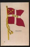 FLAGS OF ALL NATIONS  SOIE SUR PAPIER    8.5 X 5.5 CM    ===  ICELAND - Cigarette Cards