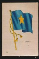 FLAGS OF ALL NATIONS  SOIE SUR PAPIER    8.5 X 5.5 CM    ===  CONGO - Cigarette Cards