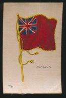 FLAGS OF ALL NATIONS  SOIE SUR PAPIER    8.5 X 5.5 CM    ===  ENGLAND - Cigarette Cards