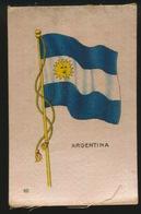 FLAGS OF ALL NATIONS  SOIE SUR PAPIER    8.5 X 5.5 CM    ===  ARGENTINA - Cigarette Cards