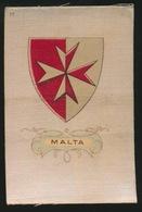 ARMS OF THE BRITISCH EMPIRE -  SOIE SUR PAPIER    8.5 X 5.5 CM    ===  MALTA - Cigarette Cards