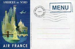 Menu Air France Ligne Amérique Du Nord - Menus