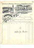 1909 FACTURE AUGUSTE MAGNE VETEMENTS EN FOURRURES à MOULINS ALLIER - France