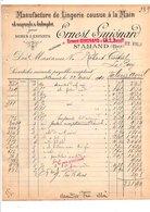 1910 FACTURE ERNEST GUIGNARD LINGERIE COUSUE A LA MAIN à SAINT AMAND CHER - France