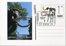 45124 Germany,pluskarte 0,45€ With Mammut Dinosaur Postmark Munchen 2015, Prehistory RR - Prehistory