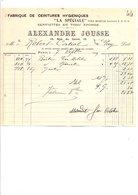 1909 FACTURE ALEXANDRE JOUSSE CEINTURES HYGIENIQUES RUE CAIRE à PARIS - France