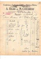 1909 FACTURE HAAS & COUDRAY COSTUMES POUR ENFANTS ET FILLETTES RUE DU MAIL à PARIS - France