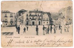 B3333 - Termini Imerese Piazza Del Duomo Animata, Viaggiata 1904, Alcune Fratture E Mancanze Nella Cartolina - Palermo