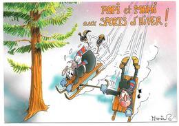 PAPI Et MAMI Aux SPORTS D'HIVER - Ed. Mythra N° ME 9 - Dessin Humour A. Mermin - 1996 - Sports D'hiver