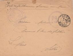 Lettre FM Cachet  Marine Française Service à La Mer  + PAQ ( Paquebot ) Tanger Maroc  21/12/1908 - Poste Navale