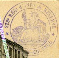 1915 / 323e RI ( LA ROCHELLE ) / CACHET / TAMPON / ERBEVILLER / BACCARAT / 323e RÉGIMENT D' INFANTERIE - War 1914-18