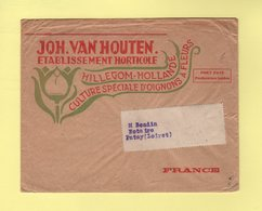 Pays Bas - Hillegom Hollande - John Van Houten - Port Paye Destination France - Theme Fleurs - Marcophilie - EMA (Empreintes Machines)