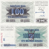 Bosnia - 100000000 Dinara 10.11. 1993 AUNC Pick 37 100 Mill. Ovp Lemberg-Zp - Bosnie-Herzegovine