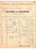 1909 FACTURE BADER & AUSCHER CONFECTION EN GROS RUE DU MAIL à PARIS - France