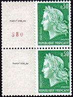 France Marianne De Cheffer N° 1536.Aa+b ** Roulette - La République, Le 0fr30 Vert - Gomme Tropicale, Numéro Rouge - 1967-70 Marianne (Cheffer)